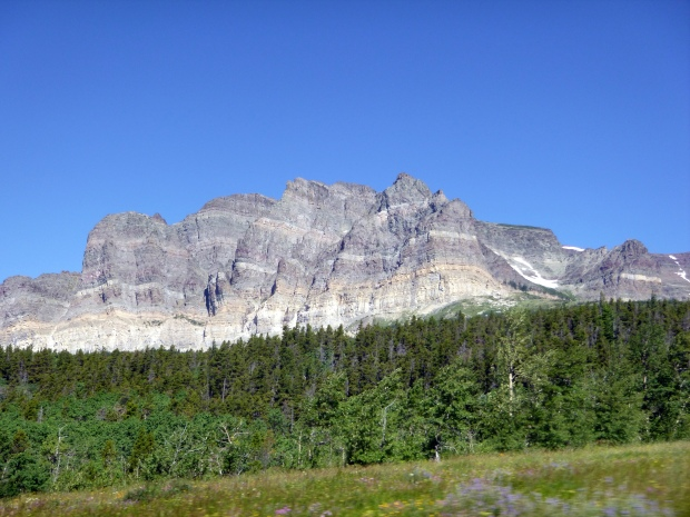 Mountains with sedimentary strata, Glacier National Park, MT