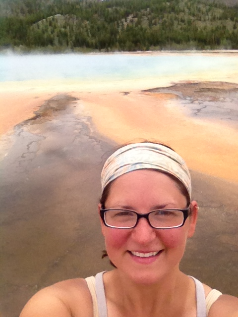 Me in front of hot springs at Midway Geyser Basin, Yellowstone National Park, WY