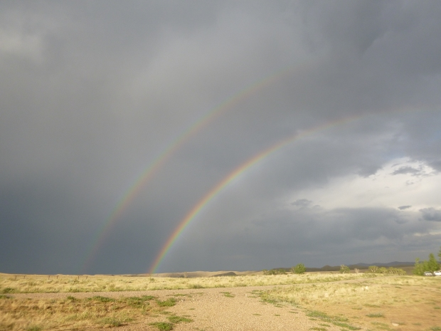 Double rainbow over our campsite, near Cody, WY