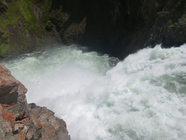 Brink of Upper Falls, looking down, Yellowstone National Park, WY