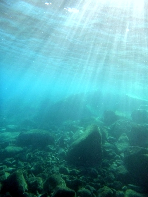 Underwater shot looking towards the deeper blue depths, Crater Lake National Park, Oregon