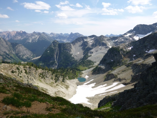Rainy Lake on other side of Maple Pass as seen from the top, North Cascades National Park, WA