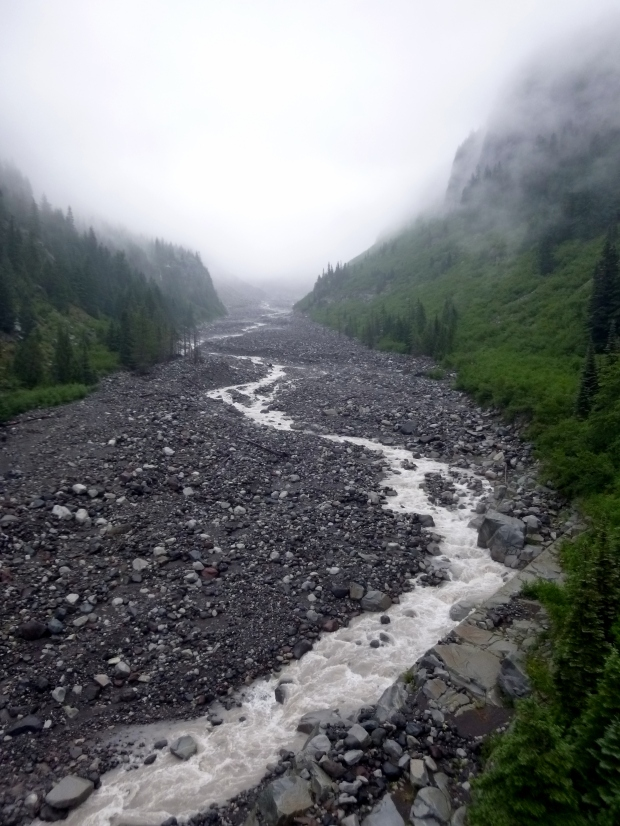 Nisqually River as it flows through valley carved by the Nisqually Glacier, Mount Rainier National Park, WA