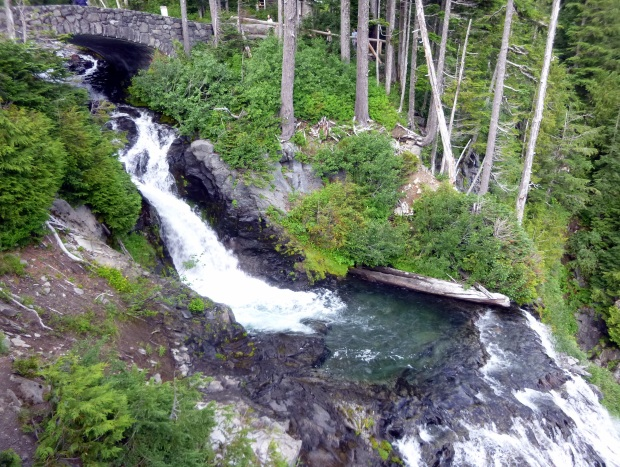 Both tiers of Narada Falls viewed from side, Mount Rainier National Park, WA