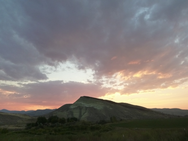 Sunset over the back side of the Painted Hills, John Day Fossil Beds, Oregon