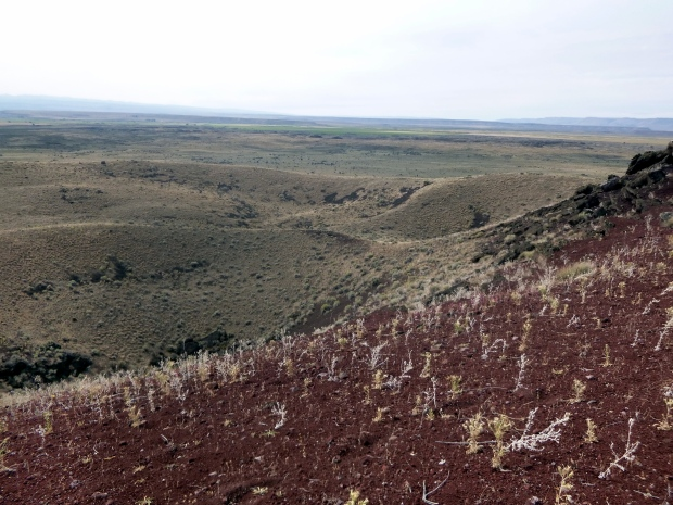 Red Bomb Crater, a cinder pit where ejected volcanic pumice collected around the vent, Diamond Craters, Oregon