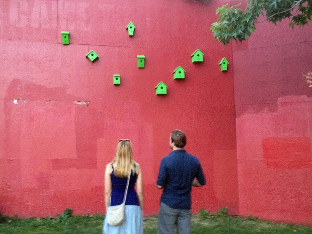 Carrie and Andrew viewing an installation at Cal Anderson Park, Seattle