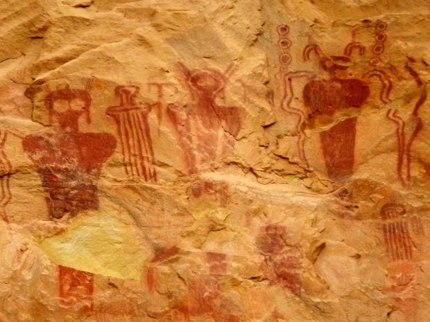Zoom of larger than life-sized Barrier Canyon anthropomorphs, Sego Canyon, Utah