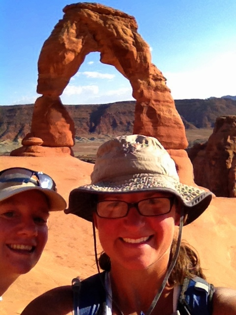 Rachel photobombing my selfie in front of Delicate Arch (trust me, this is a better picture than the one we posed for), Arches National Park, Utah