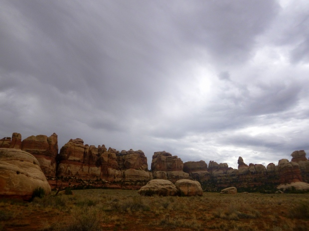 Chesler Park under rainy skies, Canyonlands National Park, Utah
