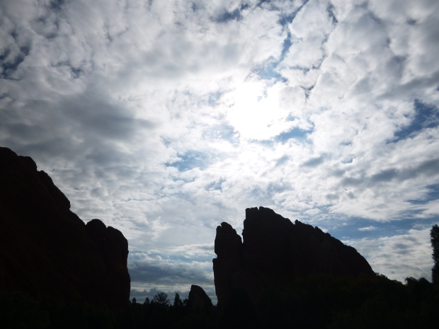 Backlit sandstone formations, Garden of the Gods, Colorado Springs, Colorado