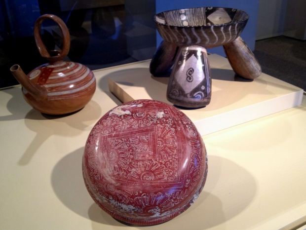 Michoacan earthenware spouted vessel, bowl, and tripod rattle bowl, Mexico, ca. 1200-1500 AD., Denver Art Museum, Colorado