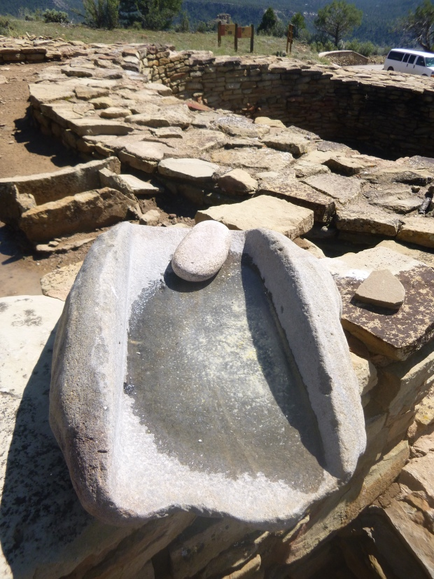 Metate and manos at Ridge house, constructed ca. 950 (stage I) and 1078 (stage II), occupied 950-1125, Chimney Rock National Monument, Colorado