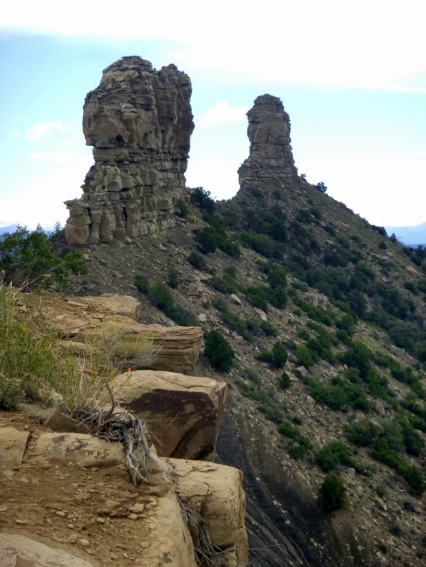 Chimney and Companion Rocks on ridge, Chimney Rock National Monument, Colorado
