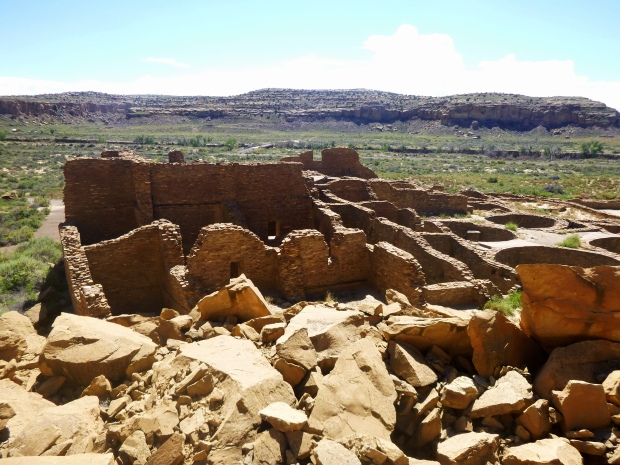 Pueblo Bonito viewed from on slightly elevated cluster of boulders, ca. 850 - 1140 AD, Chaco Canyon National Historical Park, New Mexico