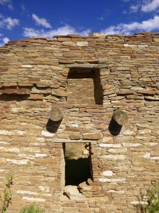 Wall of Pueblo Bonito showing modifications and original timber roof posts, ca. 850 - 1140 AD, Chaco Canyon National Historical Park, New Mexico