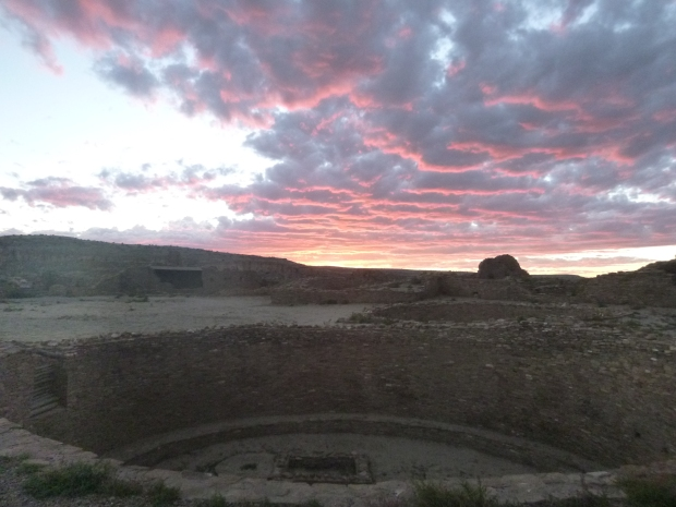 Lingering colors from sunset over a great kiva in Pueblo Bonito, ca. 850 - 1140 AD, Chaco Canyon National Historical Park, New Mexico