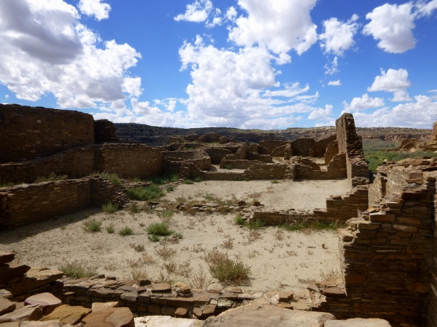 View of the main room block of Chetro Ketl with elevated kiva seen on left, ca. 1020 - 1120 AD, Chaco Canyon National Historical Park, New Mexico