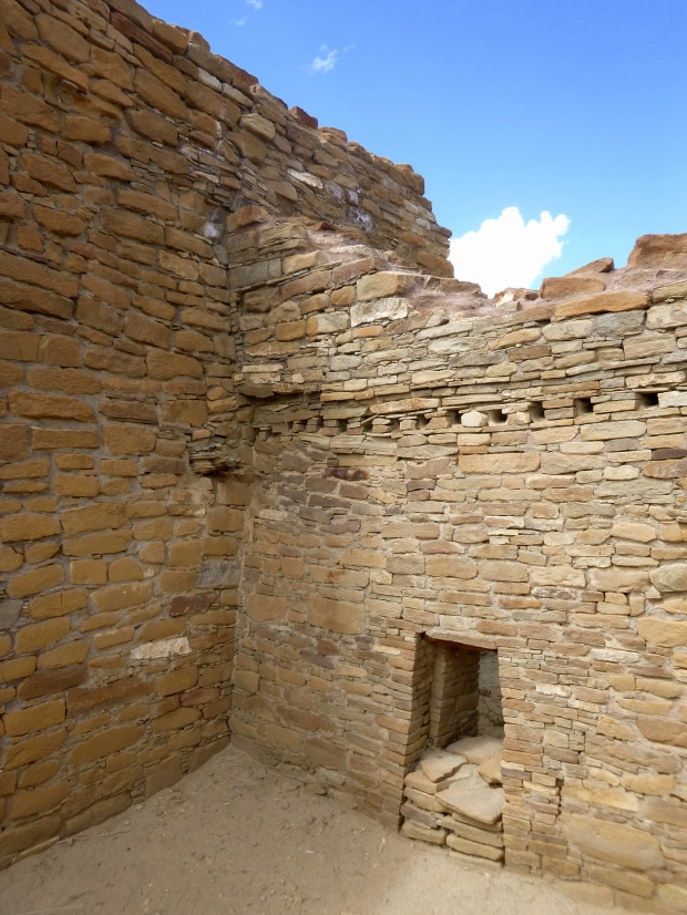 View of a modified door at Chetro Ketl with holes for roof supports, ca. 1020 - 1120 AD, Chaco Canyon National Historical Park, New Mexico