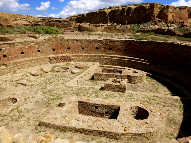 The 63-foot diameter Great Kiva at Chetro Ketl with room block behind, ca. 1020 - 1120 AD, Chaco Canyon National Historical Park, New Mexico