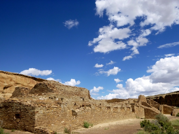 Partial view of the front colonnade at Chetro Ketl, ca. 1020 - 1120 AD, Chaco Canyon National Historical Park, New Mexico