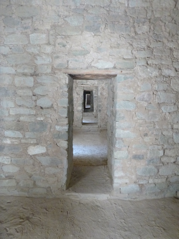 Aligned doorways in roofed rooms, ca. 1080 - 1130 AD, Aztec Ruins, New Mexico