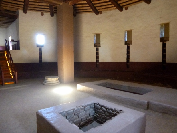 Interior of reconstructed kiva, ca. 1080 - 1130 AD (reconstruction 1930s), Aztec Ruins, New Mexico