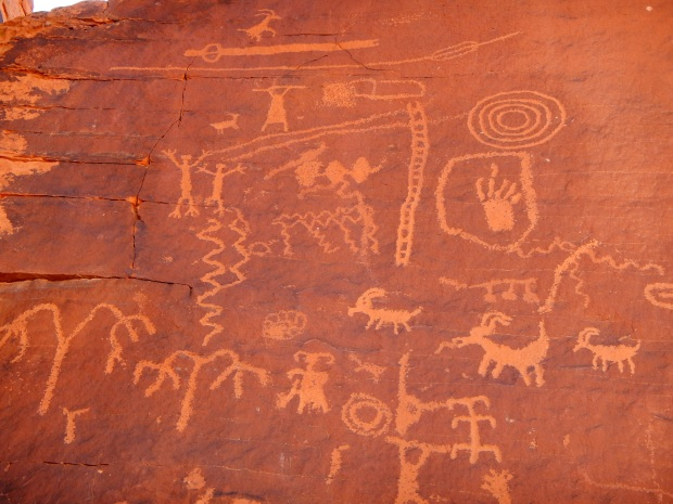 Petroglyphs on Atlatl Rock, Valley of Fire State Park, Nevada