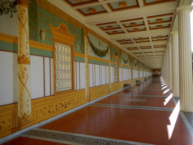 Portico of the Outer Peristyle showing recreated wall paintings, Getty Villa, Los Angeles, California