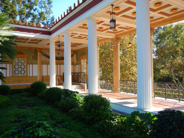 End of the portico that is open to the view of the Pacific, Outer Peristyle, Getty Villa, Los Angeles, California