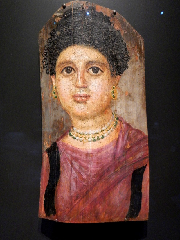 Mummy Portrait of a Woman, AD 75-100, Roman, Encaustic portrait on wood