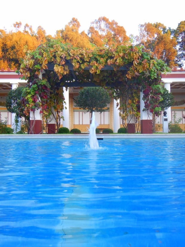 View of the gardens and opposite portico from across pool, Outer Peristyle, Getty Villa, Los Angeles, California