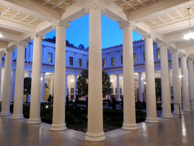 Inner Peristyle at dusk with lights, Getty Villa, Los Angeles, California
