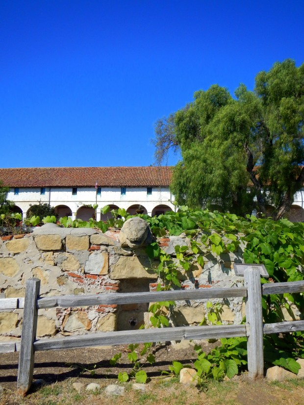 End of lavanderia, constructed and carved by Chumash Indians in 1806, Mission Santa Barbara, California