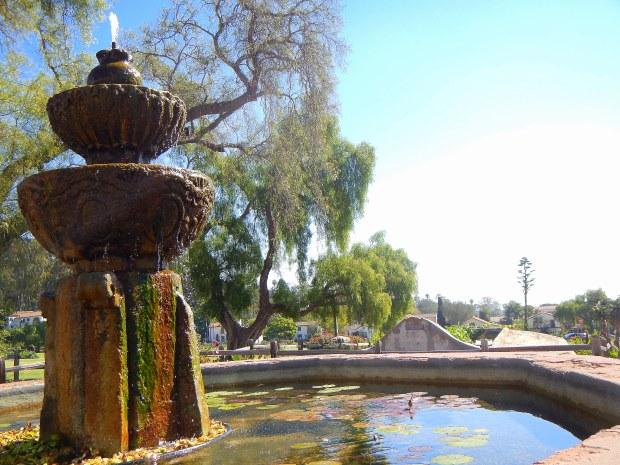 Moorish fountain with lavaderia below, 1808, Mission Santa Barbara, California