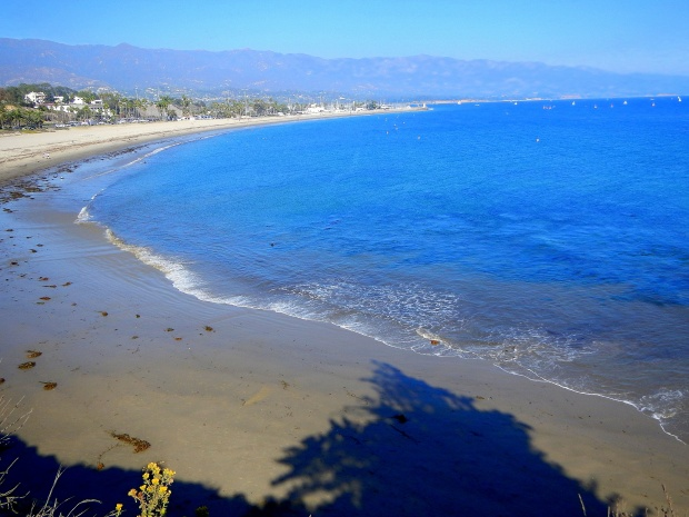 Beach from above on cliff, Shoreline Park, Santa Barbara, California