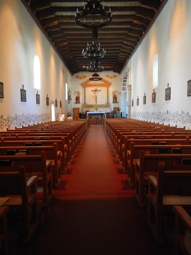 Length of nave looking towards altar, Mission San Luis Obispo, California