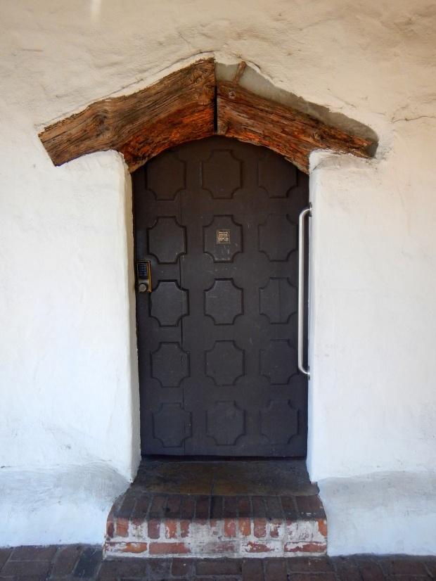 Door in quadrangle with juniper lintel, Mission San Luis Obispo, California