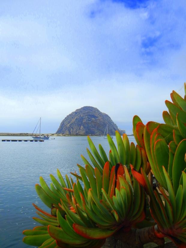 Morro Rock from the boardwalk in town, Morro Bay, California