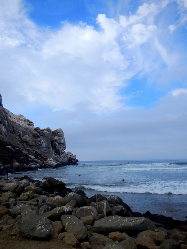Surfers out by Morro Rock, Morro Bay State Park, California