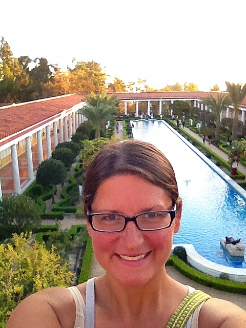 Me on porch overlooking Outer Peristyle, Getty Villa, Los Angeles, California