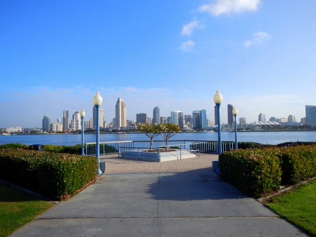 A park on Coronado Island looking across the bay to Downtown San Diego, California