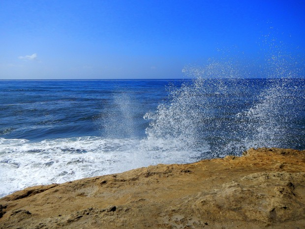 Spray at Sunset Cliffs, San Diego, California