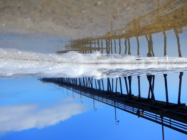 Underwater reflection of Imperial Pier, Imperial Beach, California