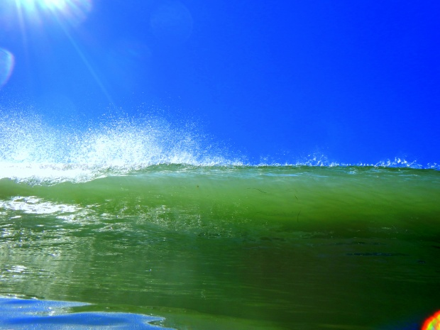 Wave breaking over me at Ocean Beach, San Diego, California
