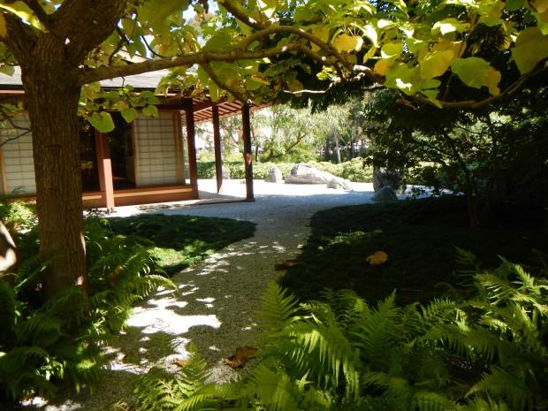 Trees and pavilion in Japanese Friendship Garden, Balboa Park, San Diego, California