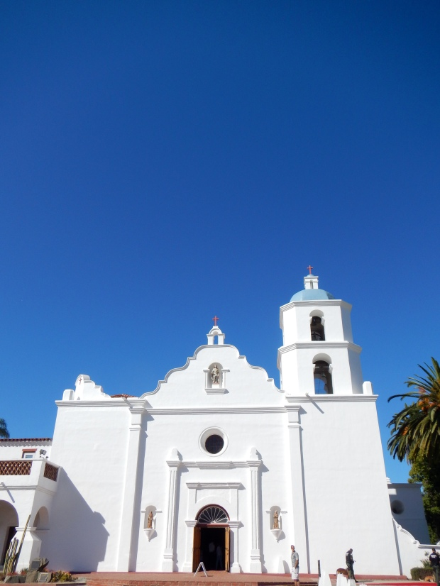Façade of Old Mission San Luis Rey showing Moorish, Spanish Baroque, and Mexican architectural influences, Oceanside, California