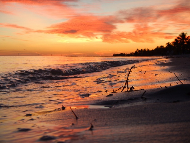 Sunset reflecting off the surf, Mathers Beach, Key West, Florida