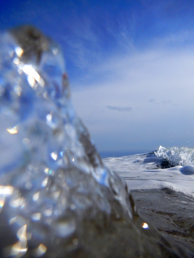 Surf splashing on the lens, Juno Beach, Florida