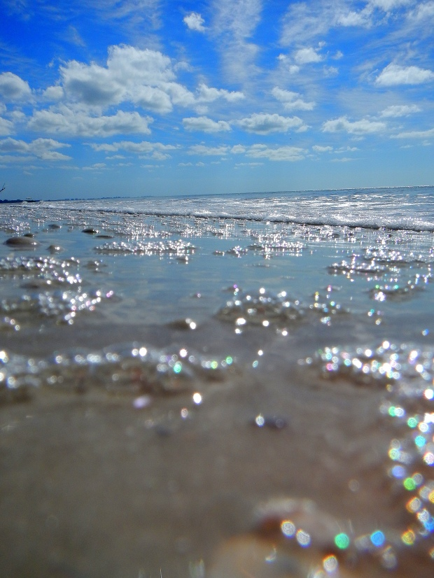 Bubbles from the surf and clouds, Lovers Key State Park, Florida